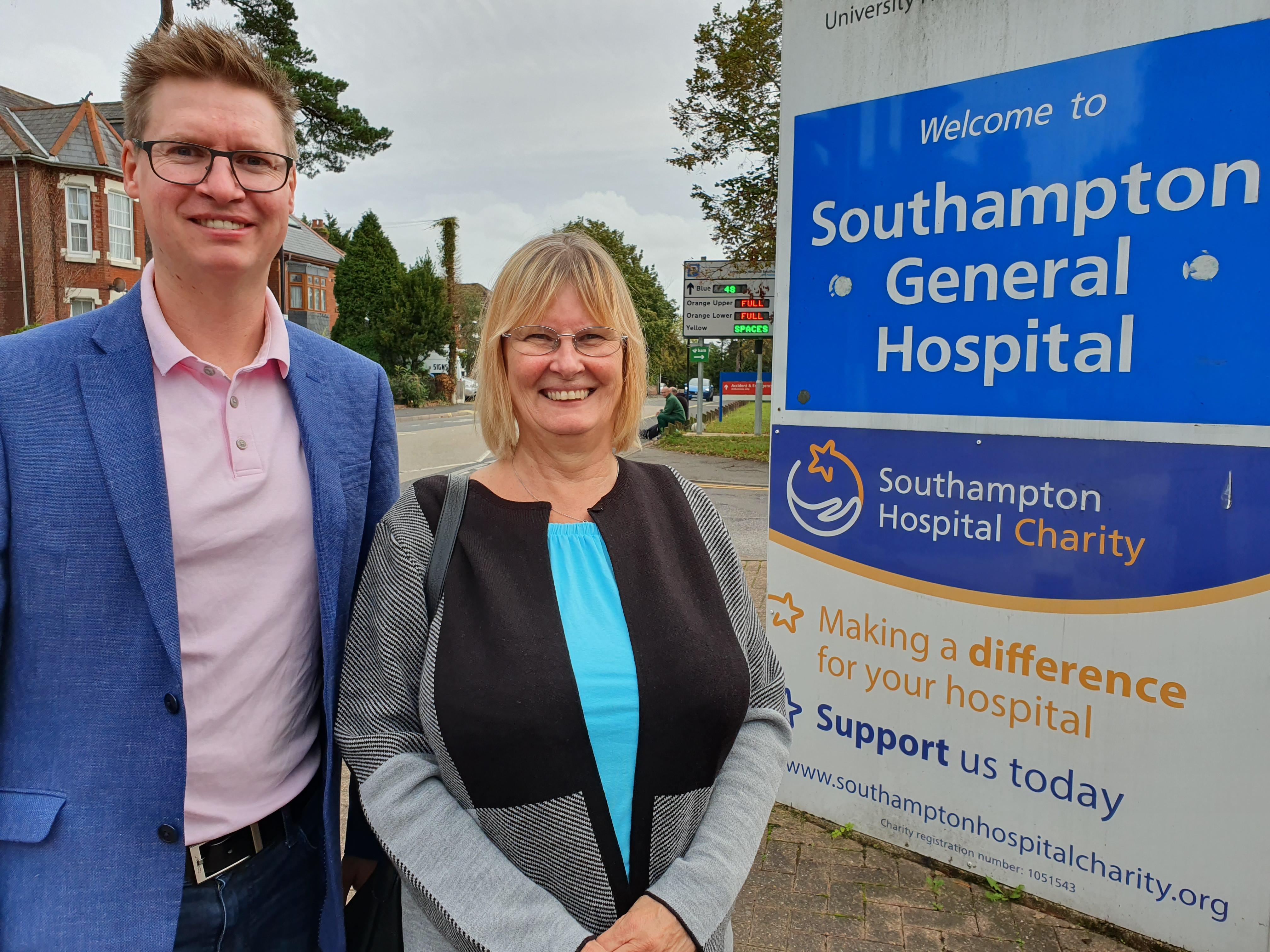 Diana and Steven Galton at Southampton General Hospital