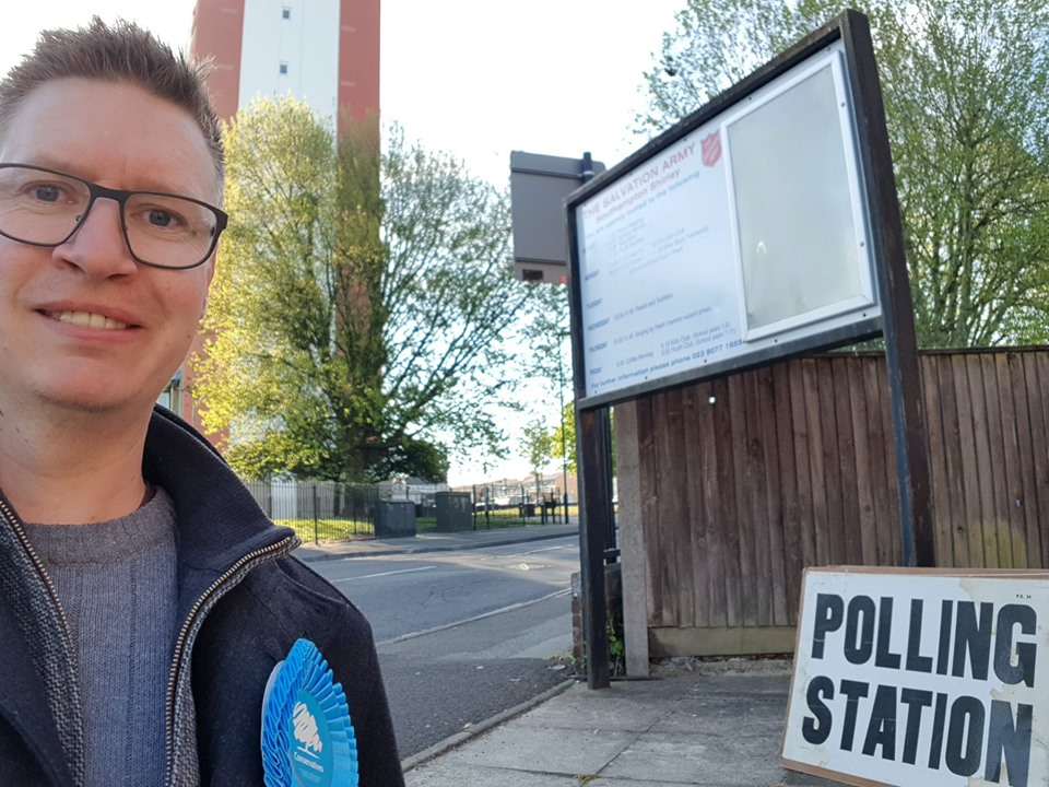 Steve at a polling station in Shirley, Southampton